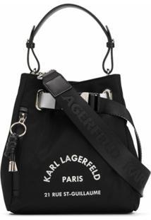 Karl Lagerfeld Bolsa Bucket Com Estampa De Logo - Preto