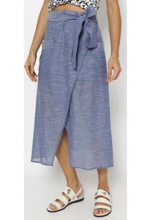 Saia Jeans MãDi Com Amarraã§Ã£O- Azul- Vixvix