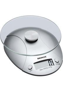Balança Digital Para Cozinha, Capacidade 3Kg, Com Relógio, Plataforma Em Vidro, Função Tara, Incluso Bateria 15X18,5X4Cm - Brinox