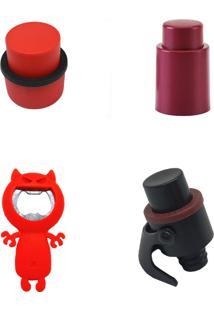 Kit Com Tampa A Vácuo, Bomba A Vácuo 3 Em 1, Bomba A Vácuo Para Refrigerante E Abridor De Garrafas Prana Goumet Vermelho