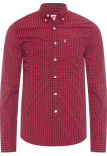Camisa Masculina Vichy - Vermelho