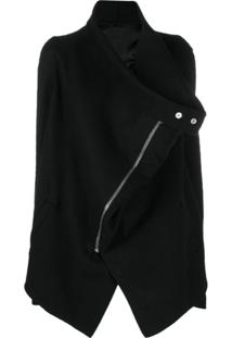 Rick Owens Asymmetric Zipped Coat - Preto