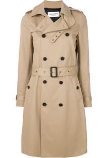 Saint Laurent Trench Coat Com Cinto - Neutro