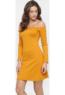 Vestido Sommer Ombro A Ombro Manga Longa - Feminino-Amarelo