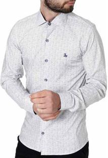 Camisa Slim Manga Longa Masculina Branco