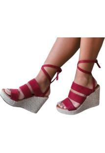 Sandália Delazari Anabela Com Tiras Vermelha
