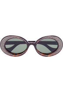 Gucci Eyewear Óculos De Sol Oval Com Aplicação De Cristais - Marrom