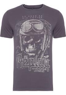 Camiseta Masculina Skull - Cinza