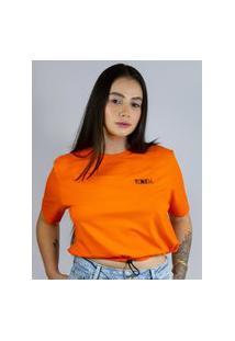 Camiseta Cropped Toneh Regulador Laranja, Cor: Laranja, Tamanho: Pp Laranja