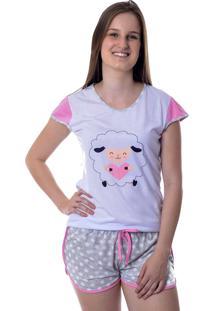 Short Doll Manga Curta Ovelhas Mania Pijamas Pijama Curto