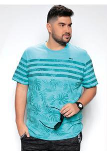 Camiseta Folhagem Azul Estampada Plus Size