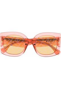 Fendi Eyewear Óculos De Sol Oversized Com Lentes Coloridas - Laranja