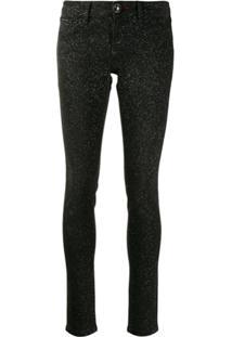 Philipp Plein Glitter-Effect Skinny Jeans - Preto
