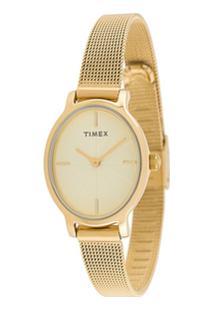 Timex Milano Oval Lds 24Mm Watch - Dourado