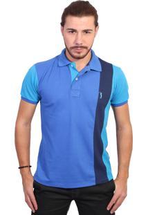 Camisa Polo Golf Club Listrada Azul Royal E Turquesa