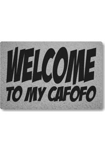 Tapete Capacho Welcome To My Cafofo - Prata