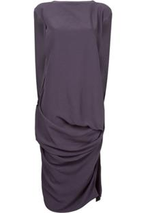 Rick Owens Vestido Drapeado - Roxo