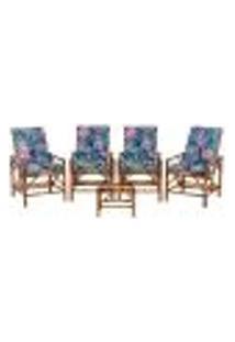 Conjunto Mesa E 4 Cadeiras De Bambu Cancun Para Área Edicula Jardim G23