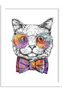 Quadro Decorativo Gato Com Gravata Borboleta Branco - Médio