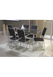 Conjunto Mesa Reno Com 6 Cadeiras Londres Preto E Cromado Kappesberg Crome