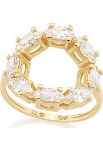 Anel Rommanel Skinny Ring Com Detalhe Redondo Vazado Com Zircônias Navetes Feminino - Feminino-Dourado
