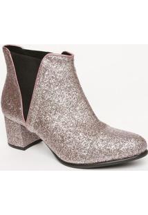 Bota Em Glitter Com Elã¡Stico- Rosa & Preta- Salto: 5Mya Haas