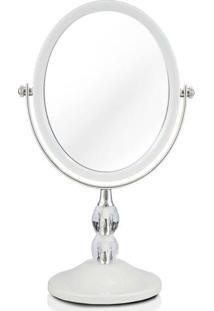 Espelho Jacki Design De Bancada Dupla Face Det De Cristais Branco Unico