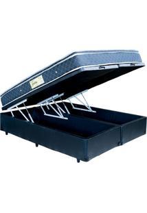 Cama Box Bau King Size Bipartido Preto + Colchão Molas Ensacadas 1,93 X 2,03