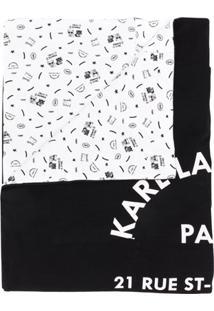 Karl Lagerfeld Cobertor Dupla Face Com Brinqueto - Preto