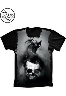 Camiseta Lu Geek Plus Size Skull With A Preto