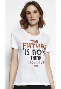 """Camiseta """"The Future"""" Com Paet㪠- Branca & Laranja Escurcoca-Cola"""