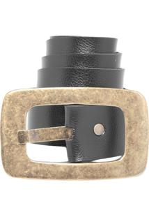 Cinto Dafiti Accessories Dupla-Face Quadrado Preto