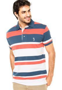 Camisa Polo Aleatory Dias Branco/Azul/Coral