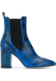 Paris Texas Snakeskin-Effect Ankle Boots - Azul