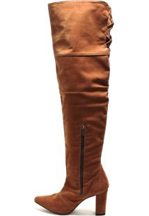 Bota Over Knee Sapatotop Shoes Caramelo