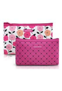 Kit Necessaire - Pink Love - 2 Peças - Pink - Jacki Design