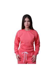 Blusa Moletom Plus Size Lisa Fechada Coral