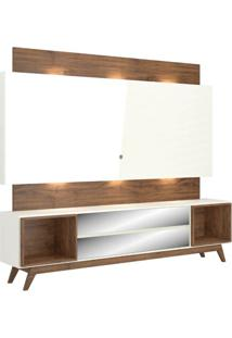 Rack Com Painel Munique Espelhado Com Led 2,20 Mt Cor Off White Com Nobre - 51646 - Sun House
