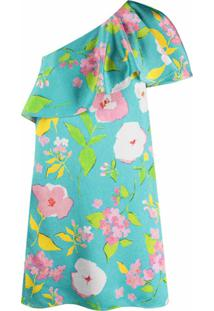 Saint Laurent Vestido Ombro Único Com Estampa Floral - Azul