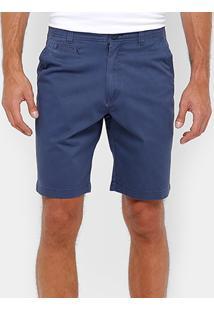 Bermuda Blue Bay Sarja Chino Color Reta Masculina - Masculino