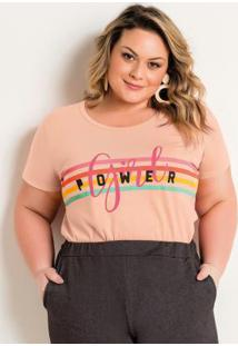 T-Shirt Coral Plus Size Com Estampa Girl Power