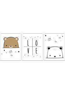 Quadro 60X120Cm Infantil Amor De Urso Moldura Branca Com Vidro Decorativo