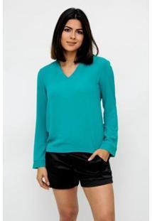 Camisa Clara Arruda Decote V 12049 - Feminino-Verde