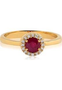 Anel Ouro Amarelo Diamantes E Rubi