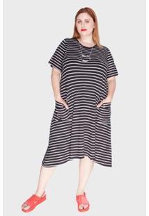 Vestido Bold Evasê Listras Médias Plus Size Feminino - Feminino-Branco+Preto