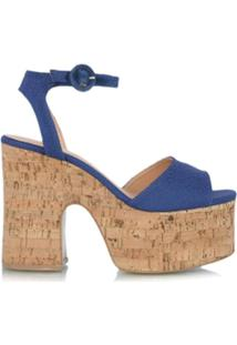Luiza Barcelos Sandália Plataforma Cortiça - Azul