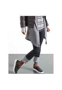 Calça Khelf Calça Jeans Feminina Barra Assimétrica Azul Marinho