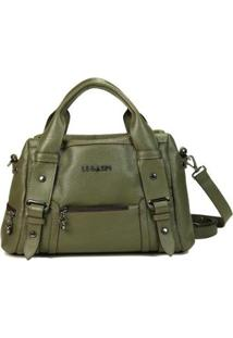 Bolsa Legaspi De Couro Cincinnati 136 - Feminino-Verde Militar
