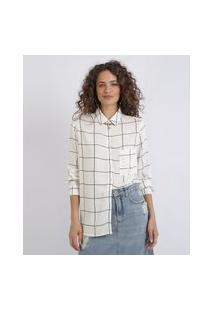 Camisa Feminina Estampada Quadriculada Com Bolso Manga Longa Off White