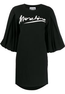 Moschino Vestido Reto Com Estampa De Logo - Preto